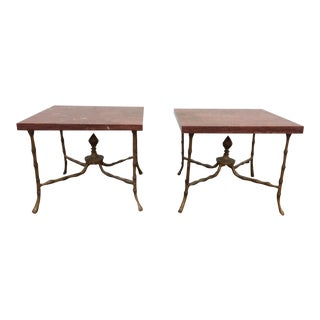 Metal Faux Bamboo & Red Marble Side Tables - A Pair