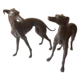Bronze Lifesize Whippet Dogs - A Pair