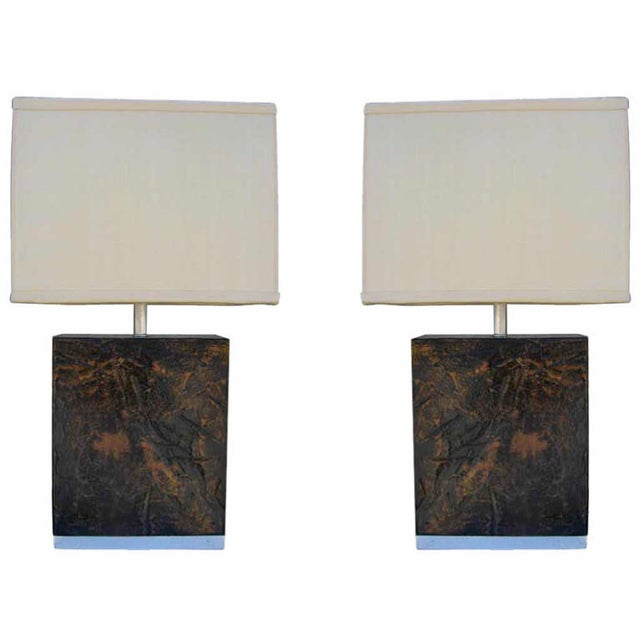 Image of Rectilinear Lamps with Textured Finish - Pair