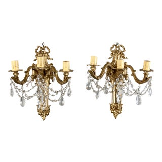 French Brass & Crystal Acanthus Rococo Style Three Arm Sconces - Pair