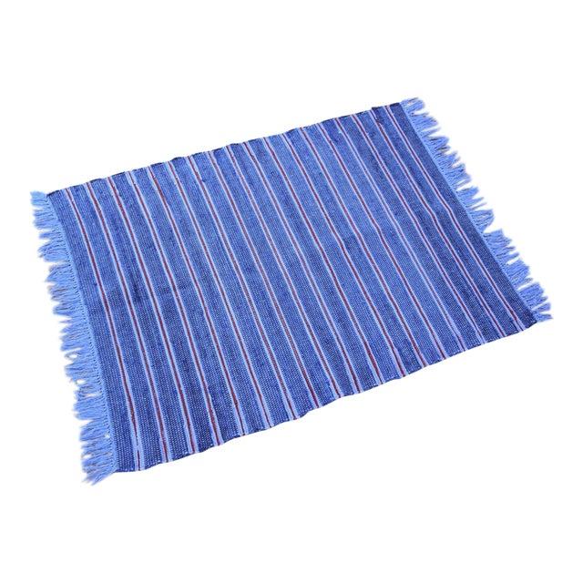 Vintage Swedish Style Hand Loomed Navy Blue Rag Rug - 2′4″ × 3′6″ - Image 1 of 6