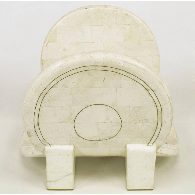 Tessellated Fossil Stone and Brass Postmodern Magazine Holder - Image 2 of 5