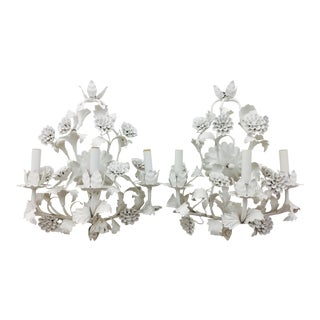 Vintage White Tole Sconces - a Pair