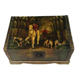 Hand Painted Hunt Scene English Wooden Chest Box