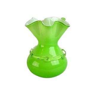 Mid-Century Green Art Glass Vase
