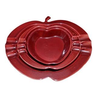 1957 Rookwood Nesting Apple Ash Collectors - Set of 3
