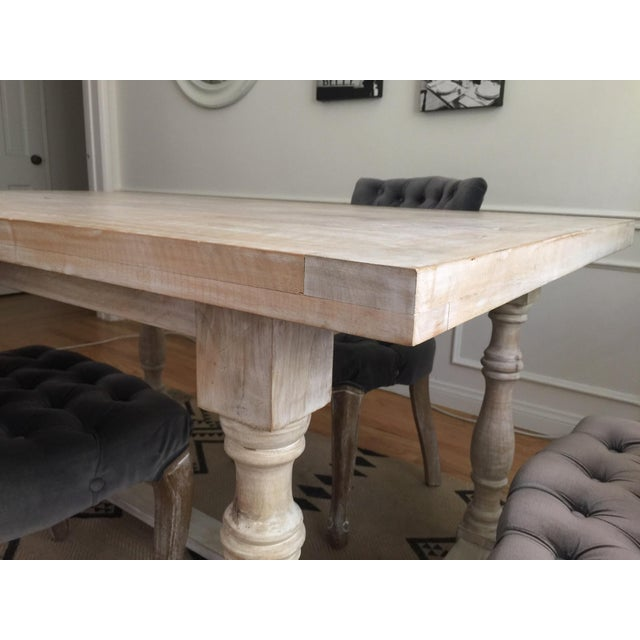 White Washed Farm Table - Image 6 of 7
