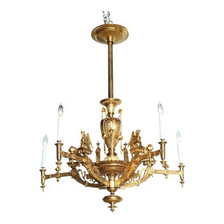 French Empire Style Gilt Bronze Five-Light Chandelier, 1880
