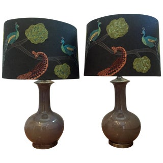 Taupe Lamps with Peacock Shades - A Pair