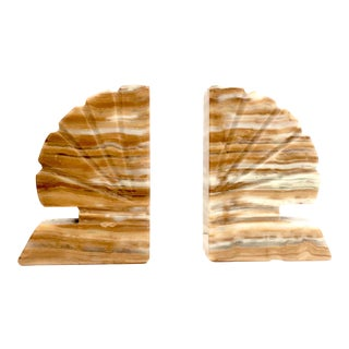 Yellow Onyx Shell Vintage Bookends -a Pair