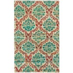 Image of Green Hand-Knotted Sari Silk Indian Rug - 5' X 8'