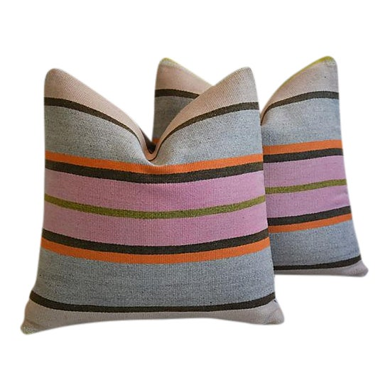 """20"""" Custom Tailored Anatolian Turkish Kilim Wool Feather/Down Pillows - a Pair - Image 1 of 11"""