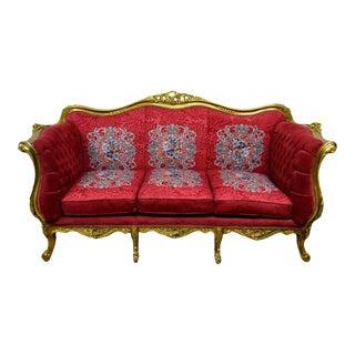 Carved Gilt Louis XVI Style Sofa