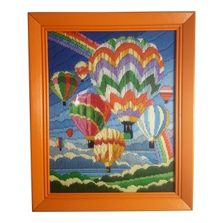 Vintage Multi Color Hot Air Balloon Needlepoint Framed Art