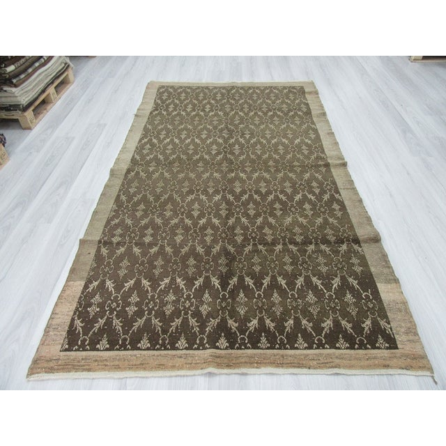 Vintage Turkish Hand Knotted Washed Out Area Rug