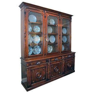 Large Two-Piece American Renaissance Revival Walnut Bookcase, by WG Thwaites
