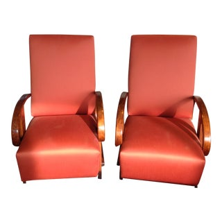 Art Deco Style Red Chairs - A Pair