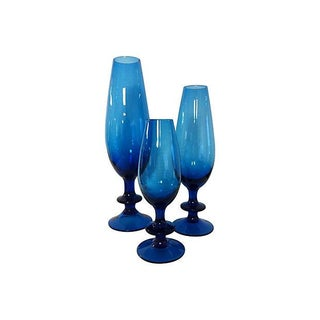 Carlo Moretti Blue Glass Goblets - Set of 3