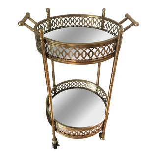 Gold Leaf Banded & Mirrored Round Bar Cart