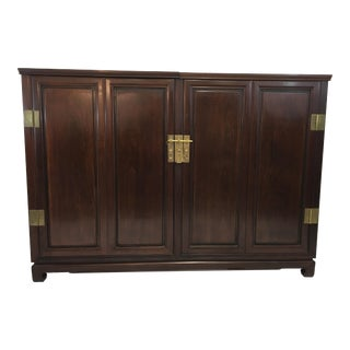Asian / Campaign Style Teak and Brass Dry Bar