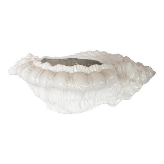 White Porcelain Italian Shell Planter - Image 8 of 8