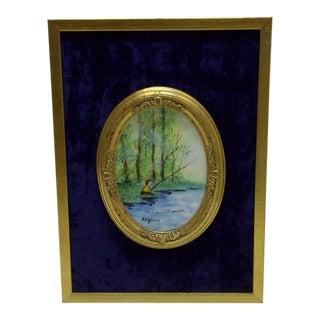 "Circa 1960 Vintage ""Fishing by the Lake"" Framed Enamel"