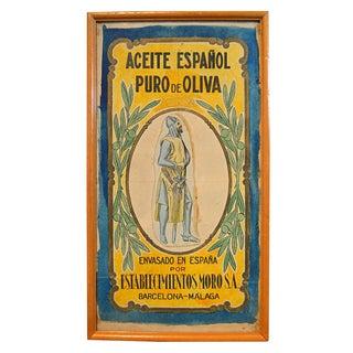 Vintage Spanish Olive Oil Can Label