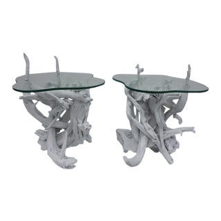 Driftwood Root & Glass Top Side Tables - Pair