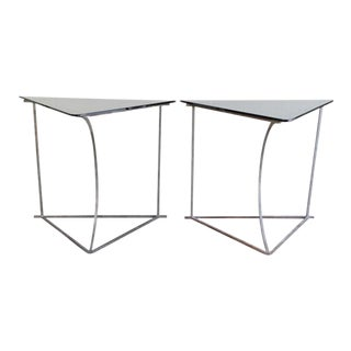 Steel and Glass Console Tables - A Pair