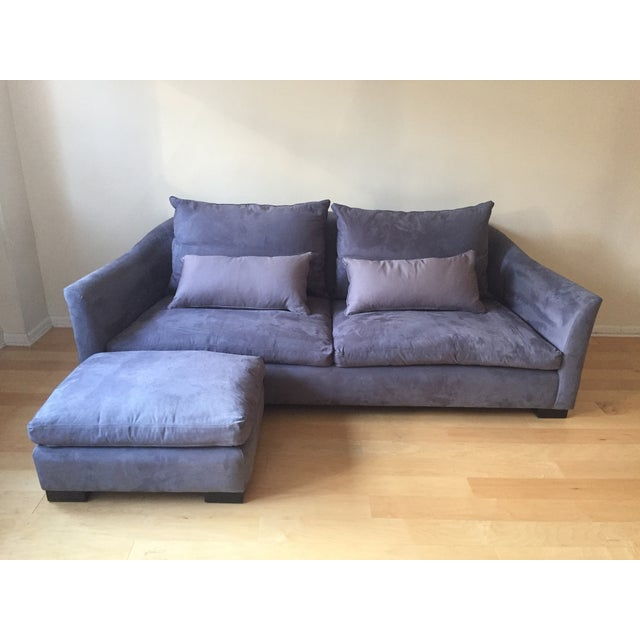 Montauk sofa modern light grey purple suede julian sofa for Grey and purple sofa