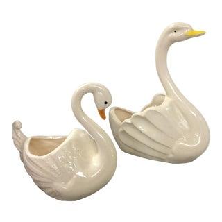 Vintage Ceramic Swan Planters - A Pair