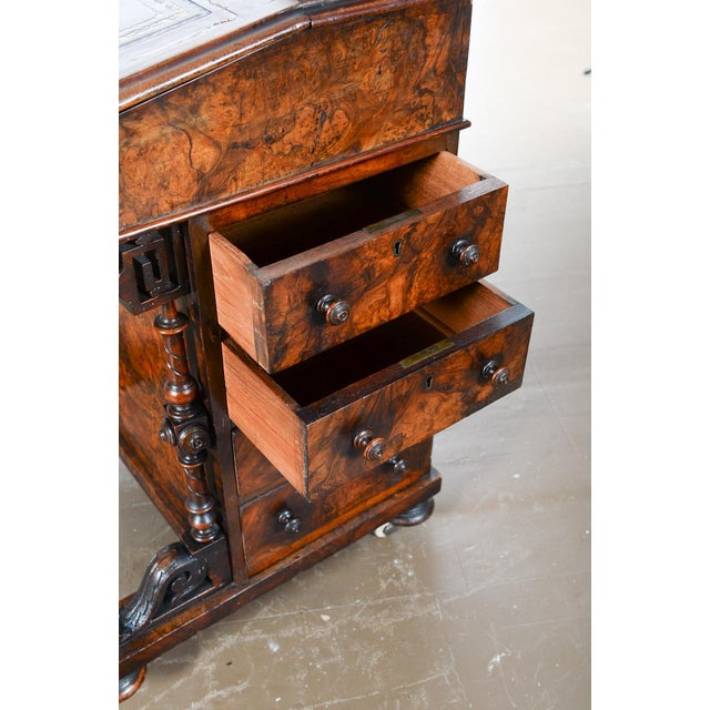 19th C. Burl Walnut Victorian Davenport Desk - Image 10 of 10