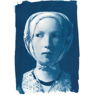 Cyanotype Print of Girl From De La Tour
