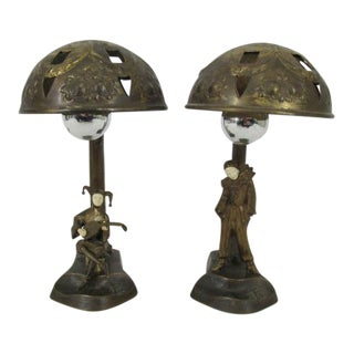 Austrian Bronze Art Deco Table Lamps, Harlequin & Pierrot After Peter Tereszczuk - A Pair