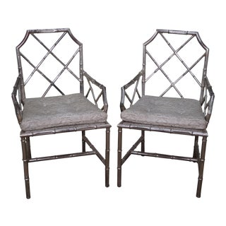 Mid Century Pair of Chinese Chippendale Style Italian Silver Gilt Metal Arm Chairs by Flair (B)