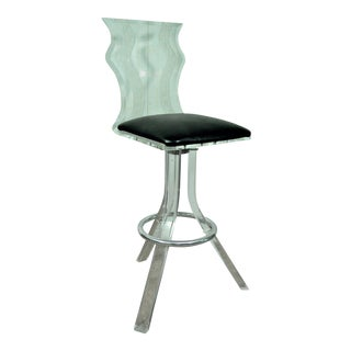 Vintage Mid-Century Modern Sculptural Wavy Lucite Acrylic Chrome Bar Stool Chair