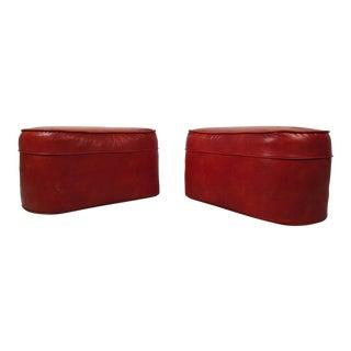 Mid-century Modern Red Vinyl Ottomans - a Pair