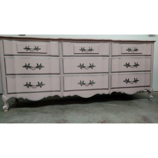 Image of Refinished Vintage French Provincial Pink Dresser