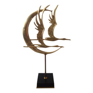 Vintage Brass Bird Sculpture Art