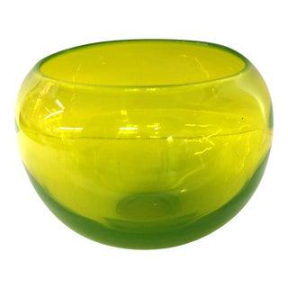 Murano Vaseline Yellow Flower Bowl