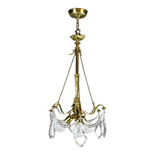 Unusual Crystal Basket Three-Light Fixture Attributed to Caldwell