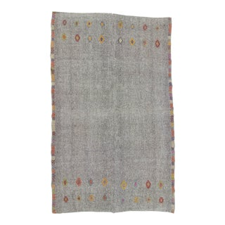 Vintage Turkish Kilim Handwoven Embroidered Grey Oversize Area Rug - 8′4″ × 13′5″