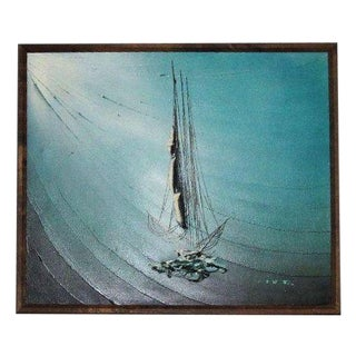 1960s Sail Boat on Waves Oil Painting