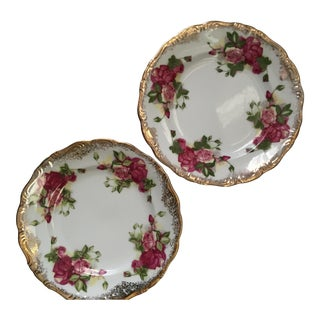 Vintage Gold & Rose Pattern Plates - A Pair