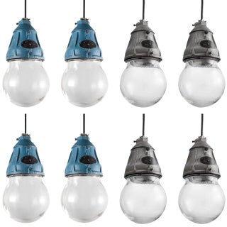 Benjamin Cast Iron and Glass Industrial Pendant, circa 1940