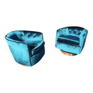 Milo Baughman Style Barrel Swivel Chairs