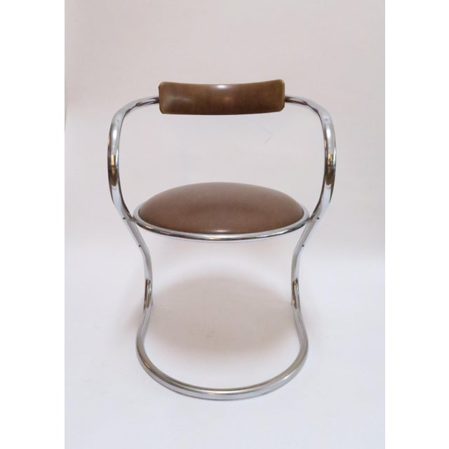 Chrome Deco Faux Leather Accent Chair - Image 2 of 7