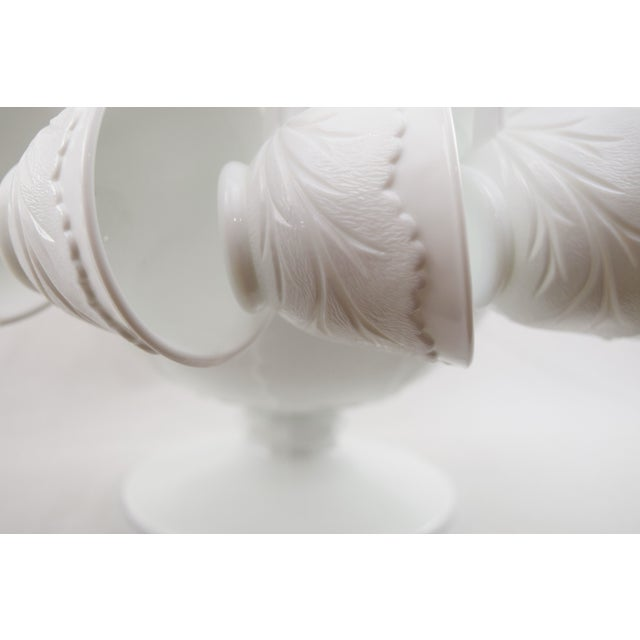Image of Pebble Leaf Milk Glass Punch Bowl Set - 12 Cups