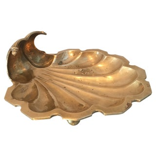 Solid Brass Shell Footed Dish/Ashtray