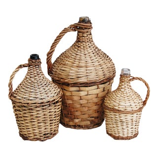 French Wicker Demijohn Bottles - Set of 3